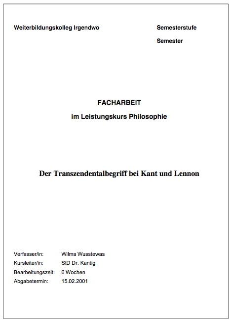Hausarbeit Beschriftung Der Kopfzeile Forum Deutsch